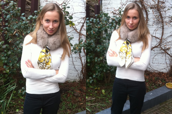 Hermes scarf fur collar